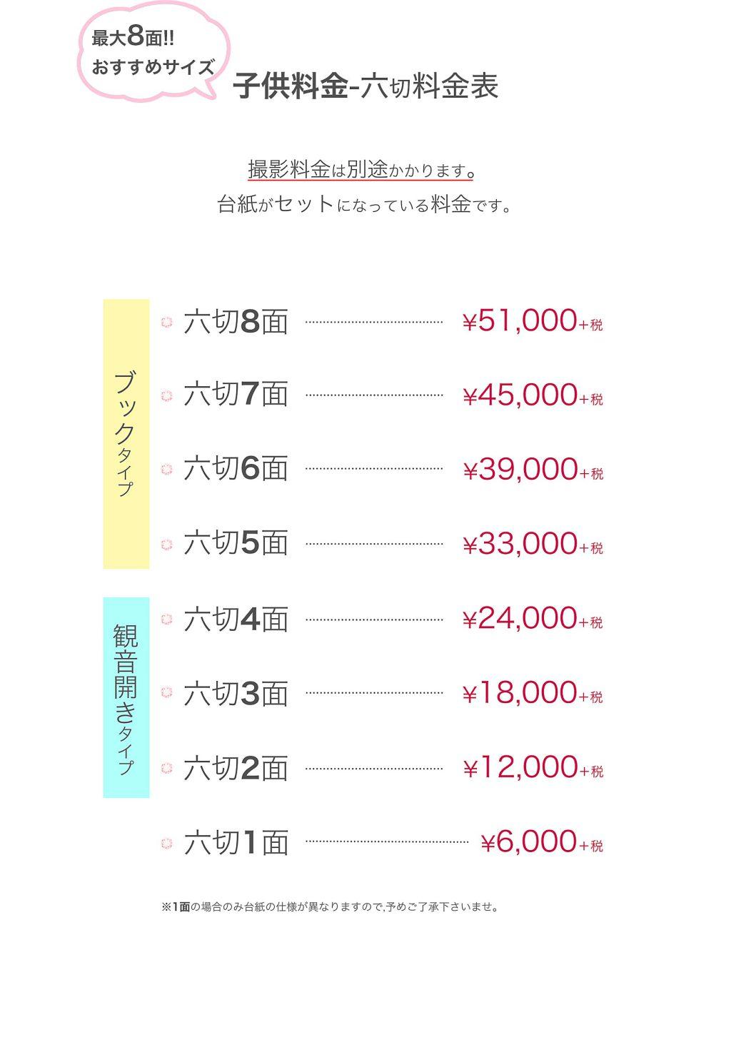 六切台紙の子供料金表