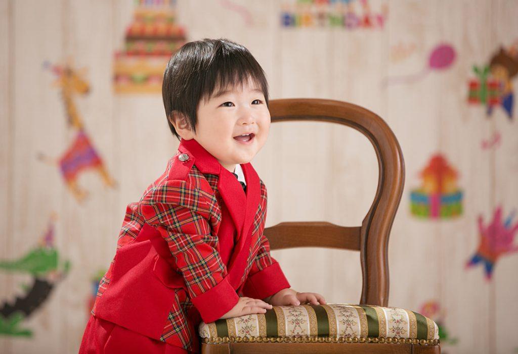 1才誕生日の記念撮影